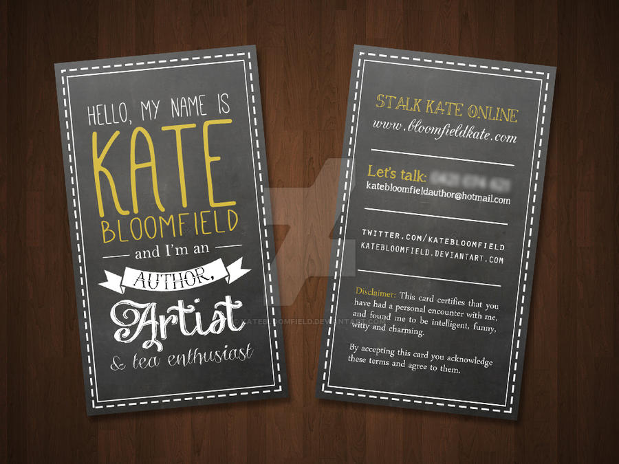 New business card design by KateBloomfield on DeviantArt