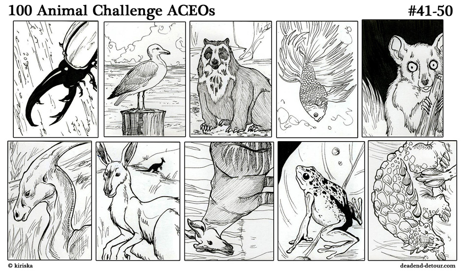 100 Animal ACEOs 41-50 by Kiriska