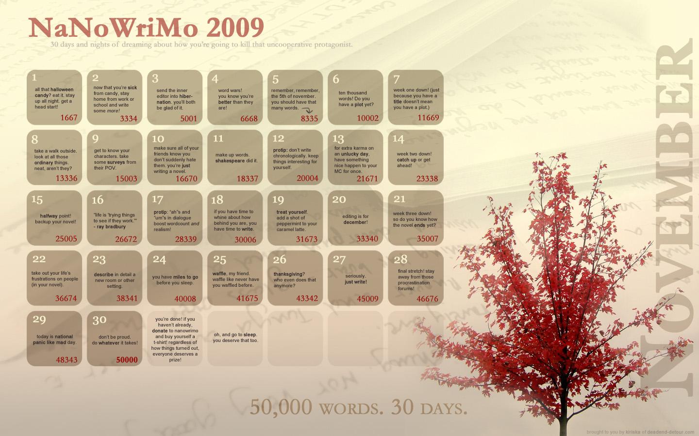 NaNoWriMo Calendar 2009