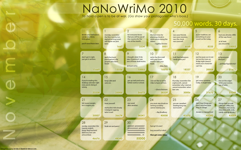 NaNoWriMo Calendar 2010