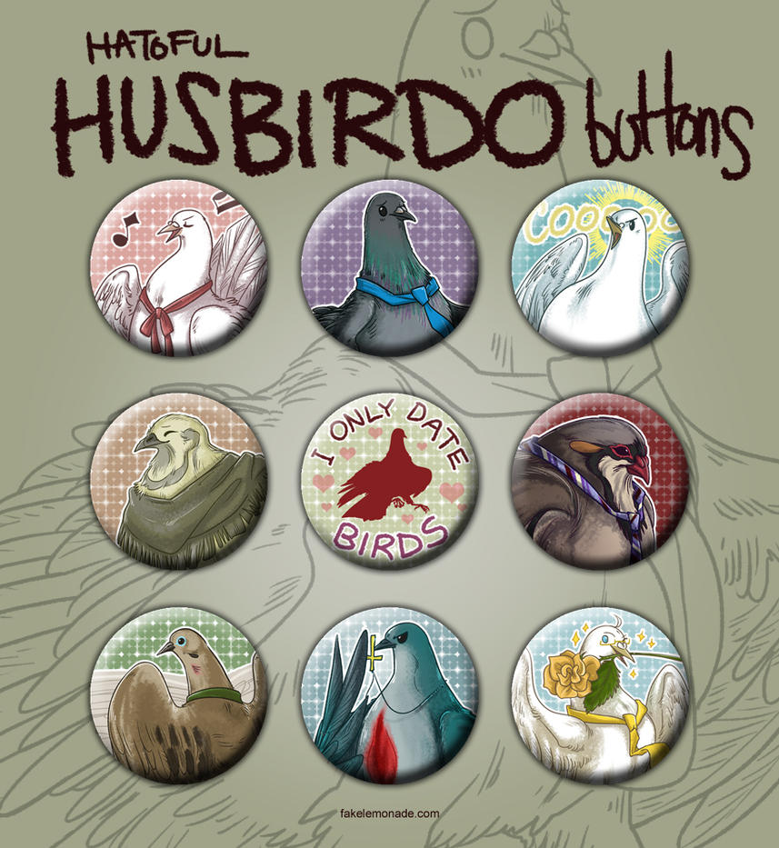 Hatoful Husbirdo buttons by Kiriska