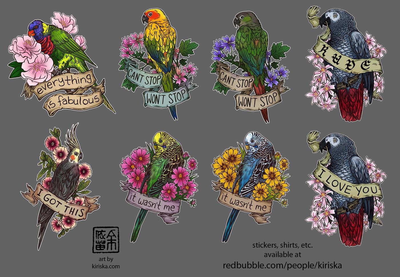 Birds and Flowers III by Kiriska
