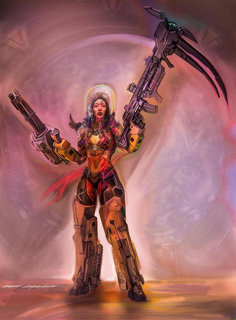 Mecha girl through the Stargate by BramLeegwater