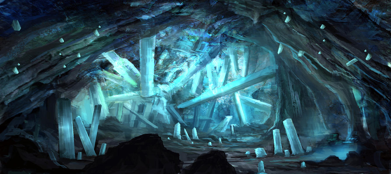 Crystal cave by eru17 on deviantart for Paintings of crystals