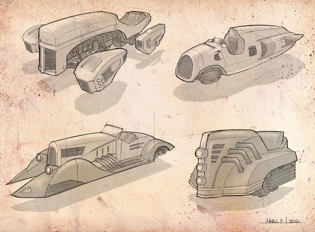 Dieselpunk Hovercar Concept2 by Eru17