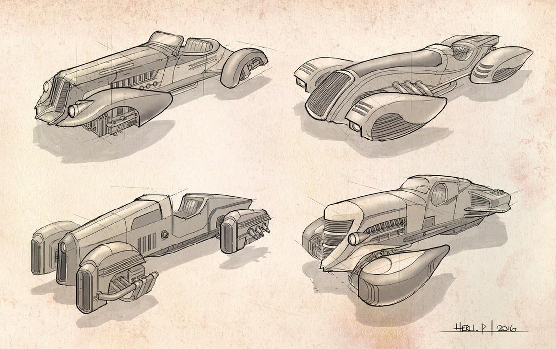 Dieselpunk Hovercar Concept1 by Eru17