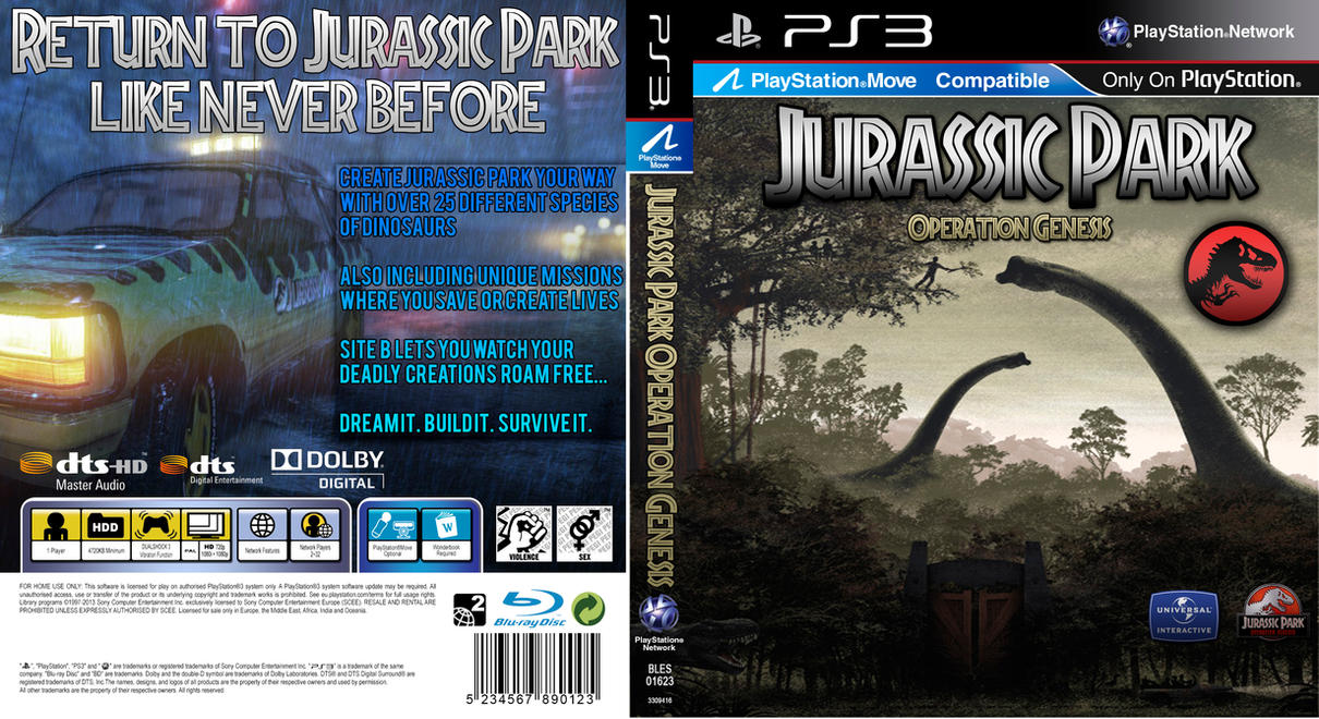 jurassic park operation genesis ps3 case by kingza123 on