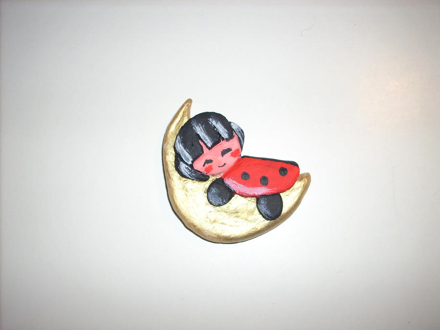 Ladybug sleeping on the moon clay figure by kratosisy