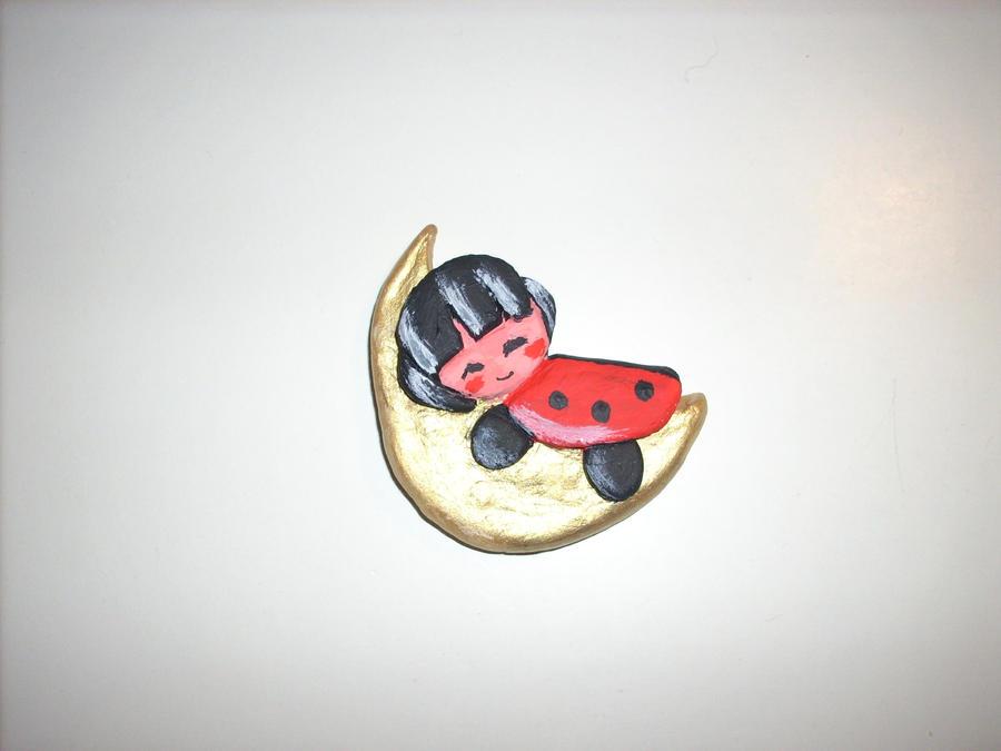 Ladybug sleeping on the moon clay figure by kratosisy
