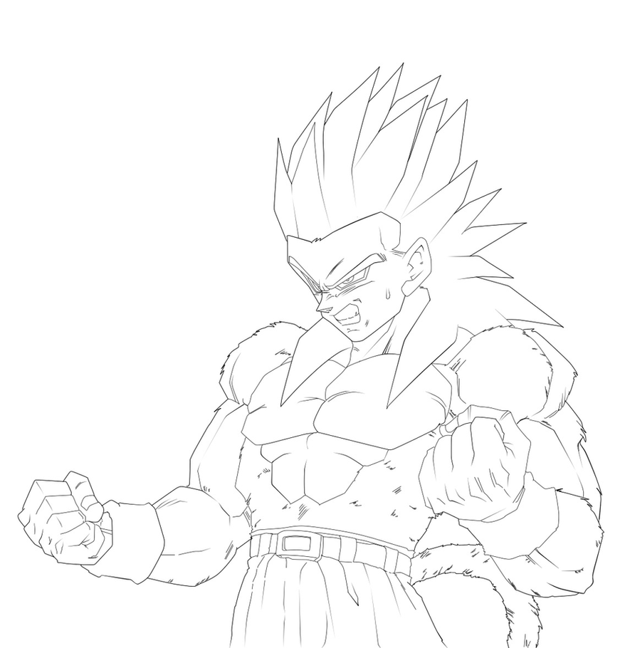 Contemporáneo Dragon Ball Z Para Colorear Vegeta Super Saiyan 4 ...