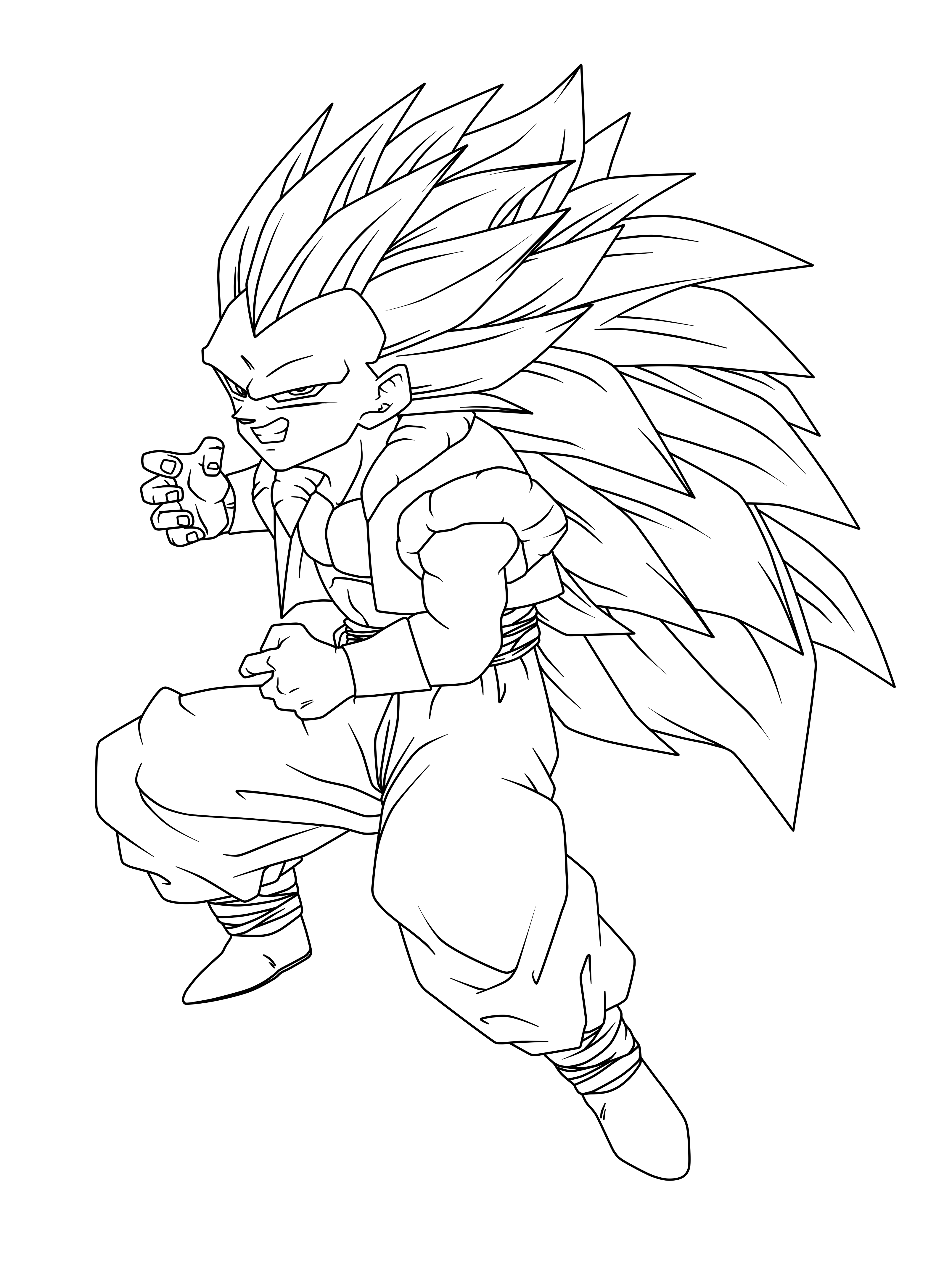 gotenks super saiyan 3 coloring pages - ss3 gotenks free coloring pages