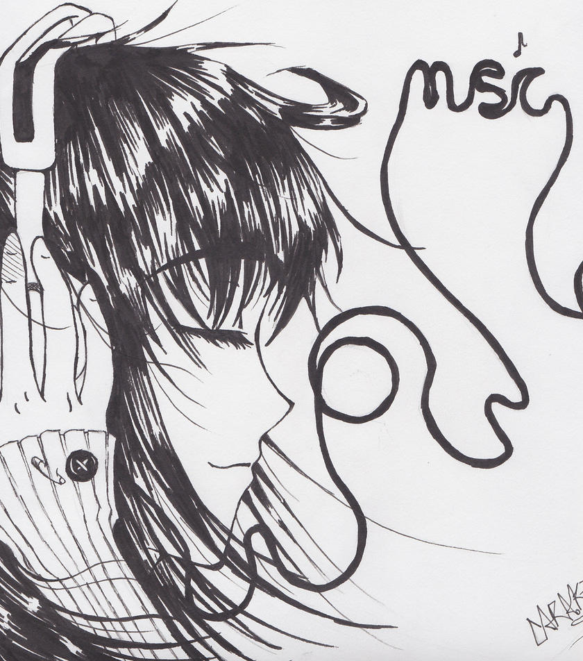 Line Drawing Music : Headphones and music by petziey on deviantart