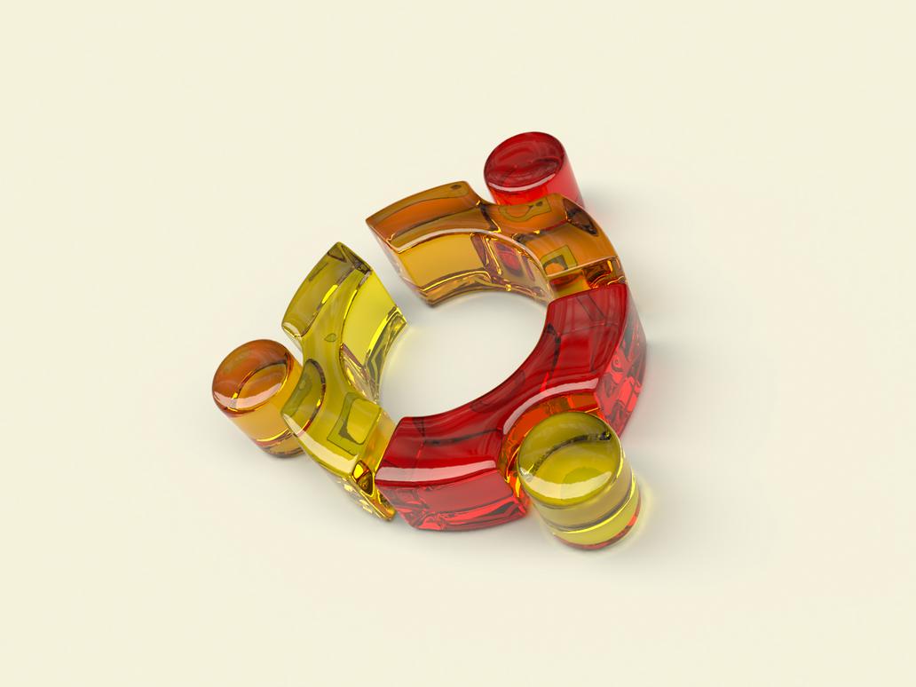 Ubuntu 3D Glassy Symbol Wallpaper