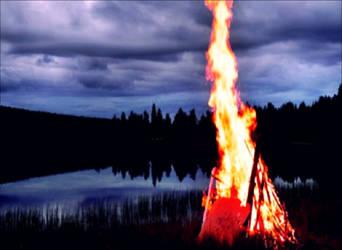 Traditional Midsummer Bonfire In Archipelago  by eskile