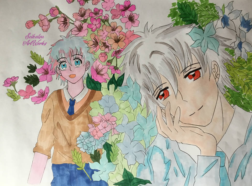 Yusei and Subaru on A3 Paper with Flowers