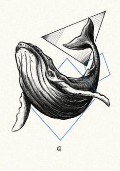 Inktober day 13 - Blue Whale