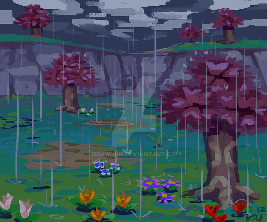 Animal crossing rainy day by drawwin on deviantart for Animal crossing mural