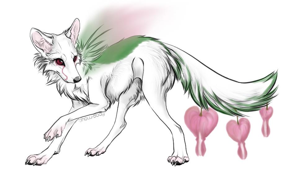 Flower tail fox by RestlessInferno