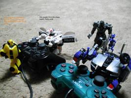 Barricade, 'Bee, and Megatron