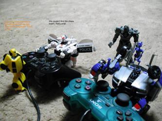 Barricade, 'Bee, and Megatron by kenyastarflight