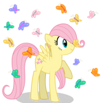 Filly Fluttershy with some Butterflies
