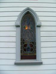 Puhoi village church window