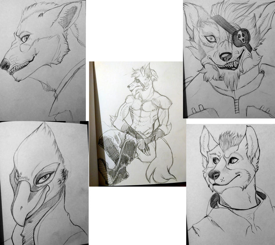 Star Fox sketches by spiralofvertigo