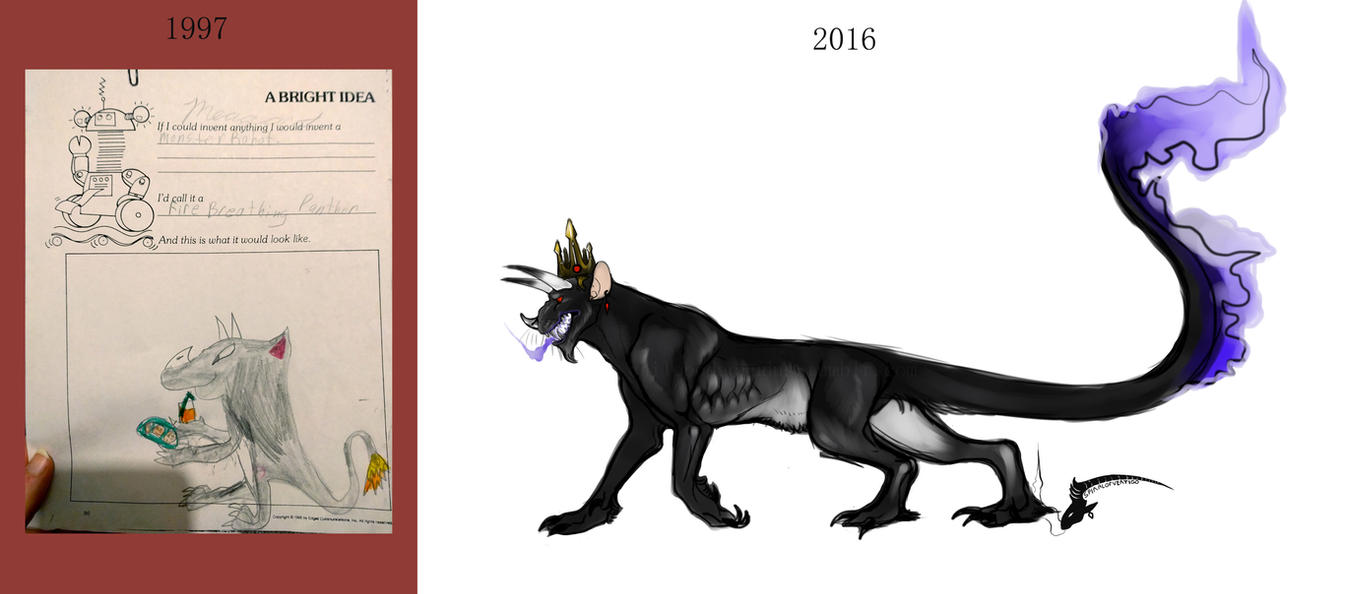Fire Breathing Panther Then and Now by spiralofvertigo