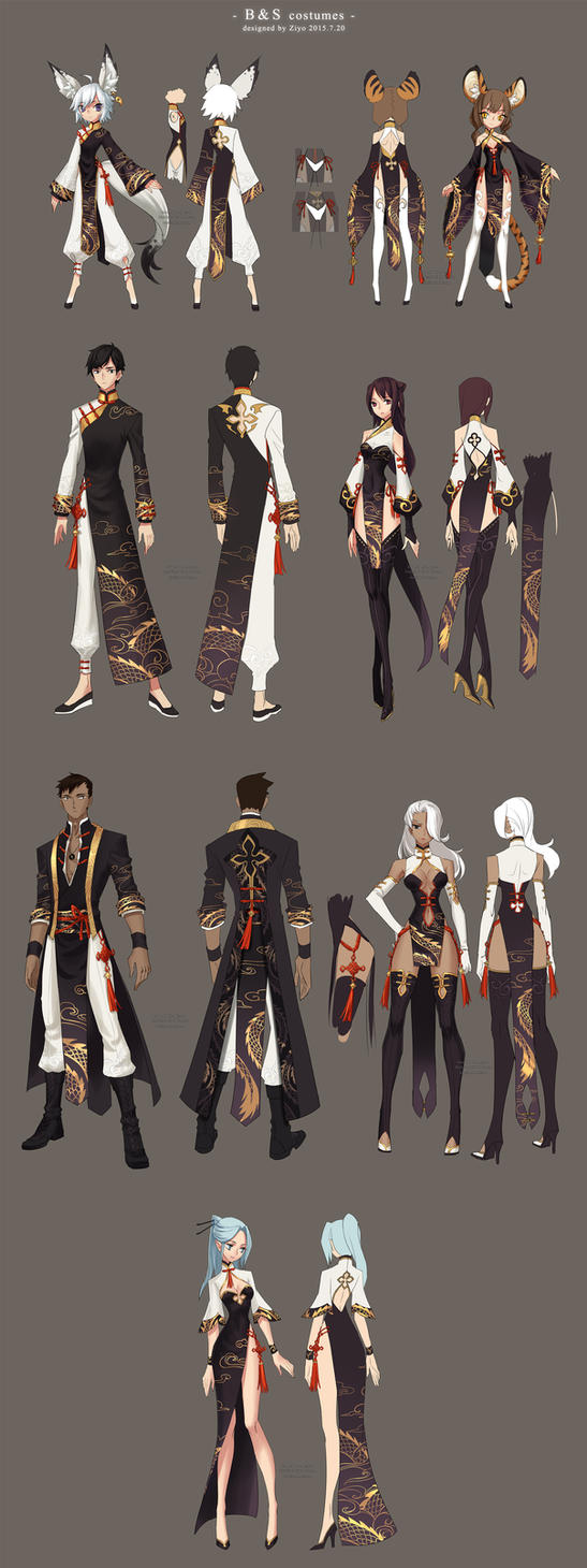 Game Character Design Contest 2015 : Bns costumes design by ziyoling on deviantart