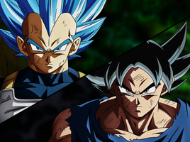 Vegeta SSGSS Evolucion Y Goku Migatte No Gokui by FradayEsmarkers