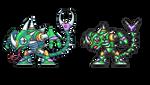 Sting Chameleon, Megamanx, pixel upgrade.