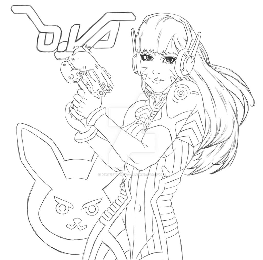 Fanart overwatch dva by caiusshinra on deviantart for Overwatch coloring pages