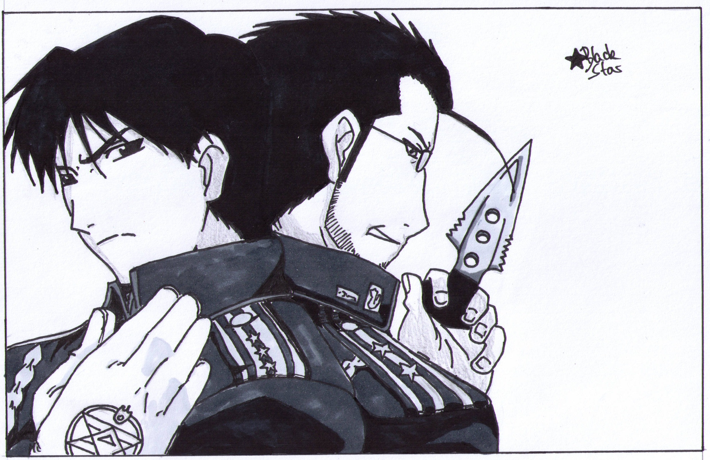 roy mustang and maes hughes (fullmetal alchemist)