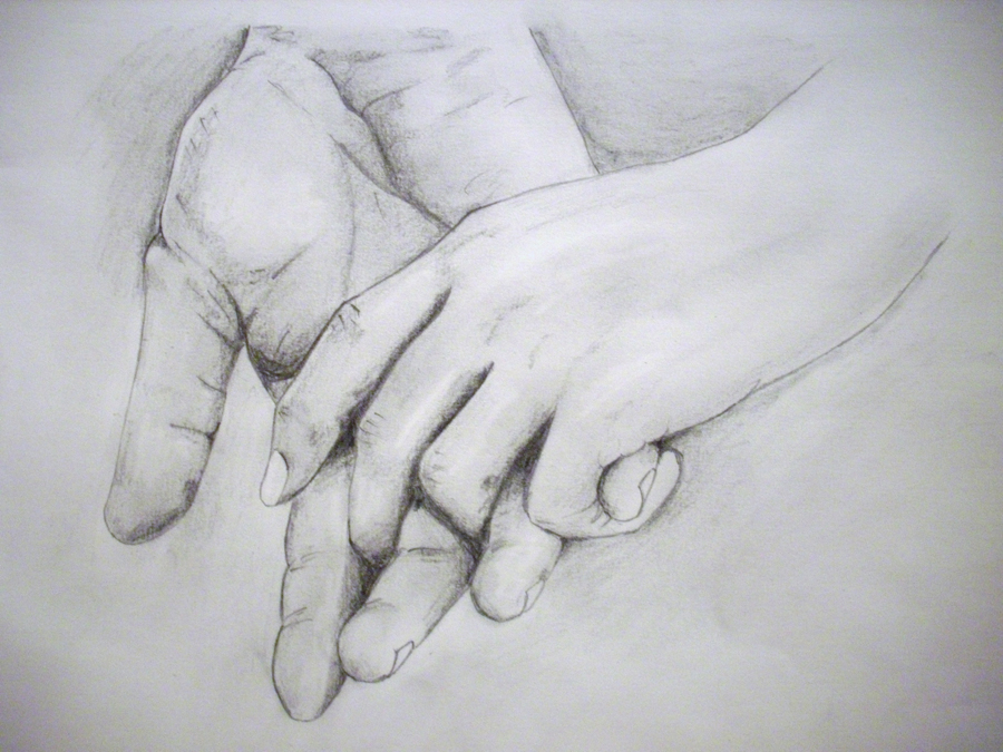 Painting Of Two Hands Almost Touching
