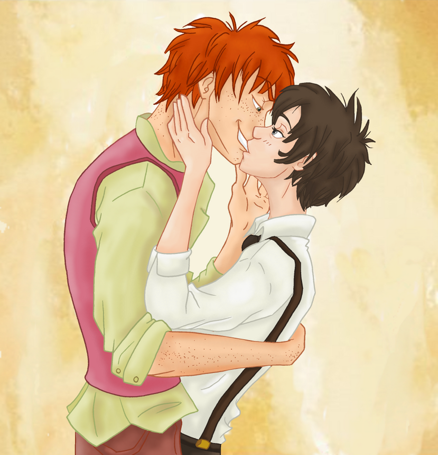 HP Fred x Nox Prompt 2  Kiss by Weasley-DetectivesFred And George Weasley Anime