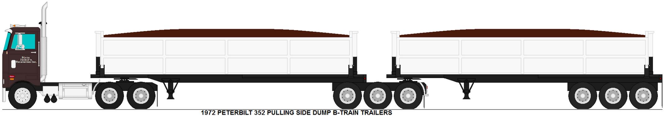 Peterbilt 352 Pulling Side Dump B Train Trailers By