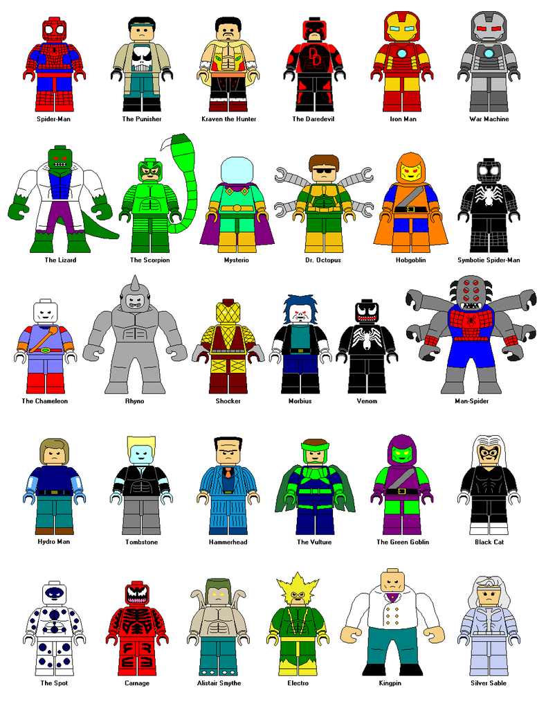 lego spiderman characters by gamekirby on deviantart