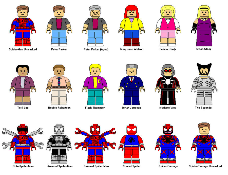how to make lego spider man characters
