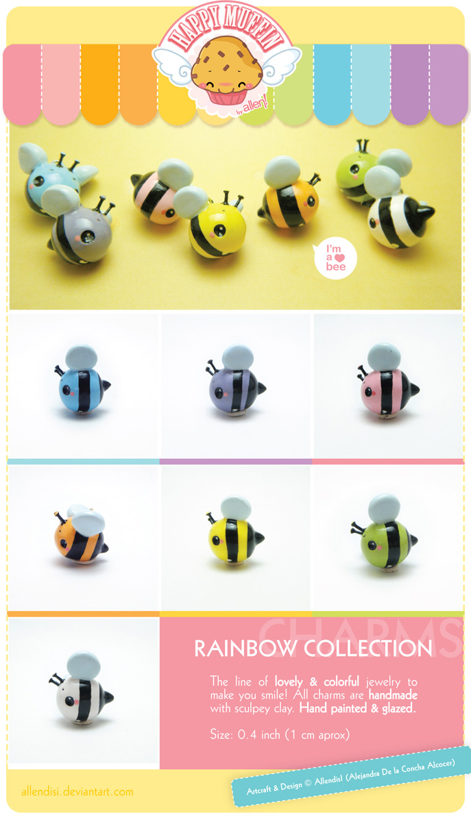Rainbow collection Charm.Bees by AllendisI