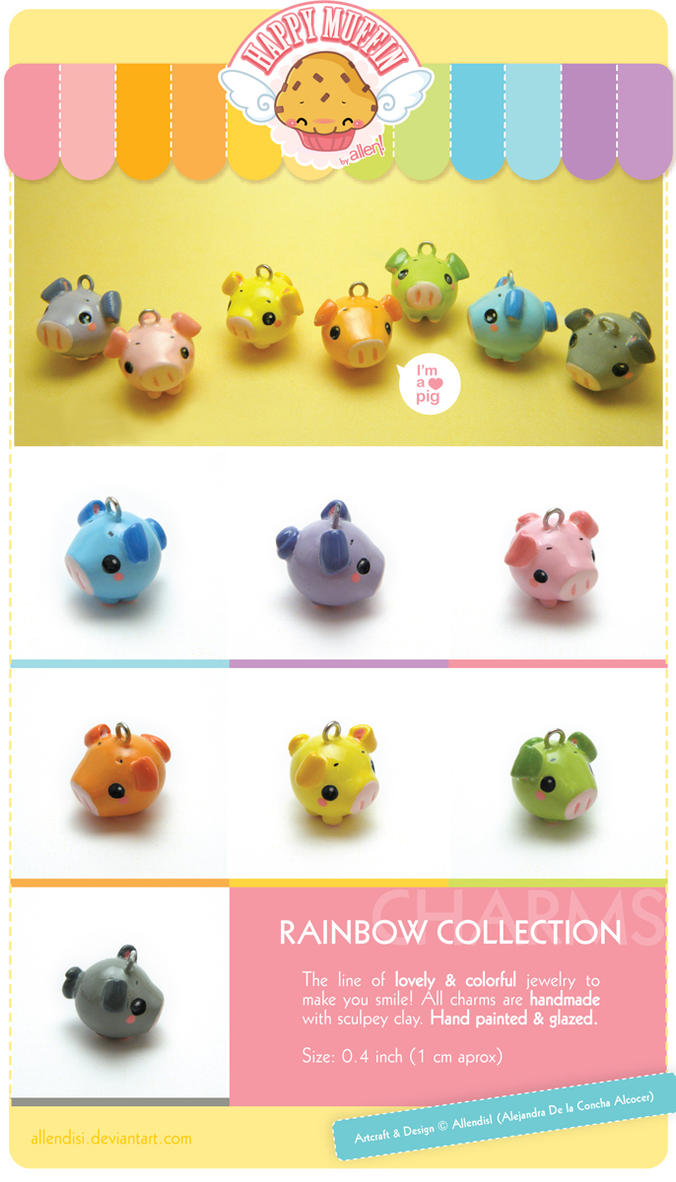 .Lovely rainbow pig charms. by AllendisI