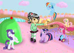 Vanellope and the Mane Six in Sugar Rush