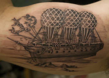 Impossible Flying Machine Tattoo by NateTheKnife