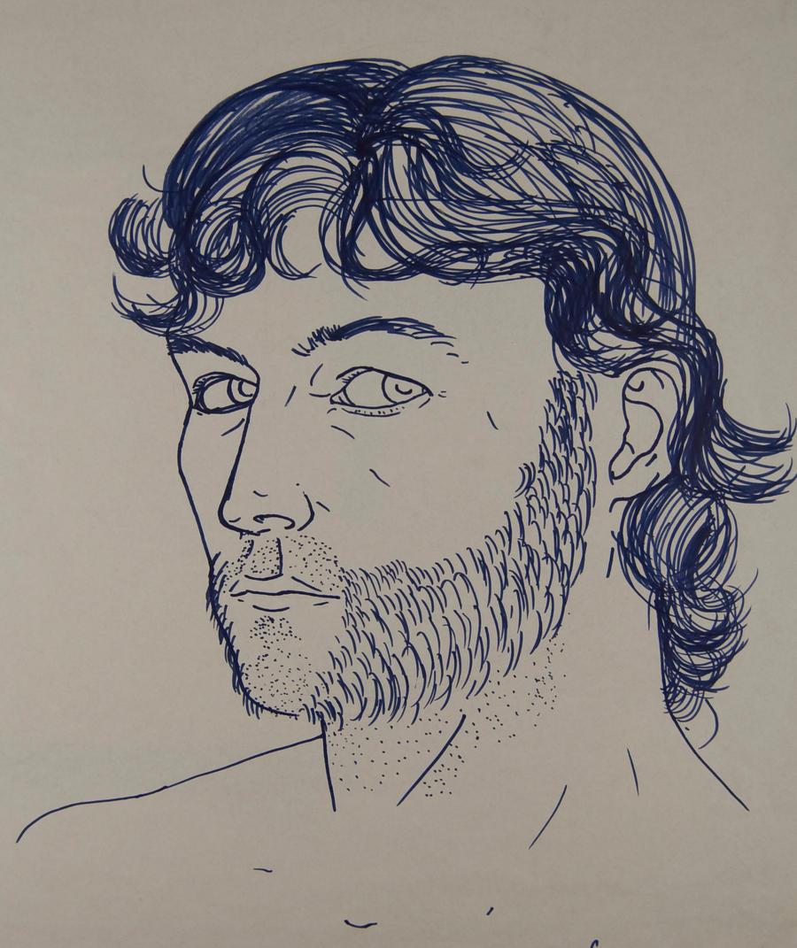 Blind Contour Line Drawing Self Portrait : Modified blind contour self portrait by natetheknife on