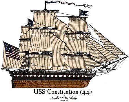 USS Constitution Colored