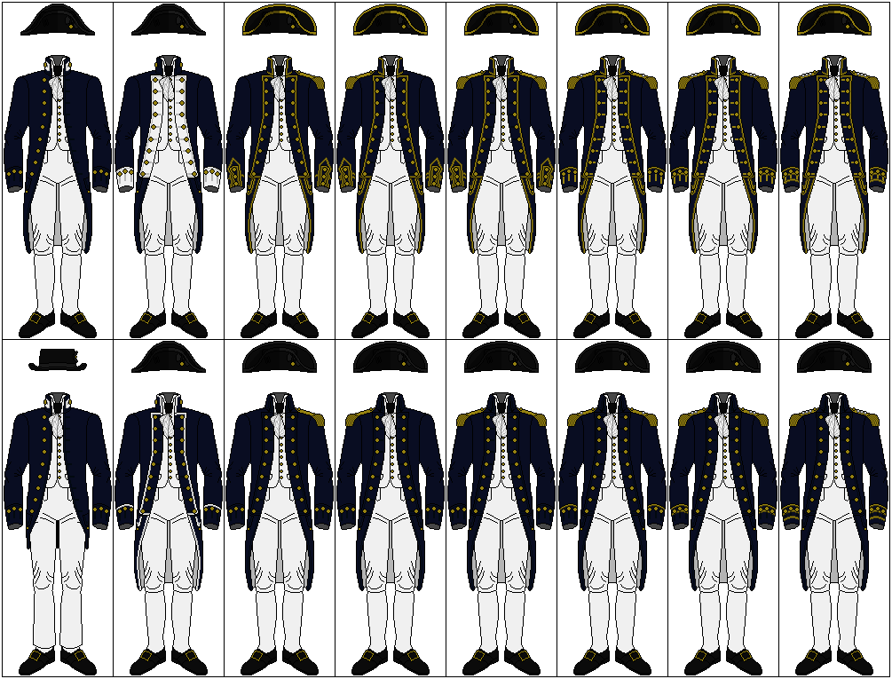 ... 18th century British Royal Naval Officers uniforms from the front too