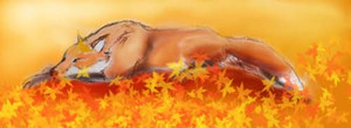 sleeping fox in autumn leaves by Dukesketches