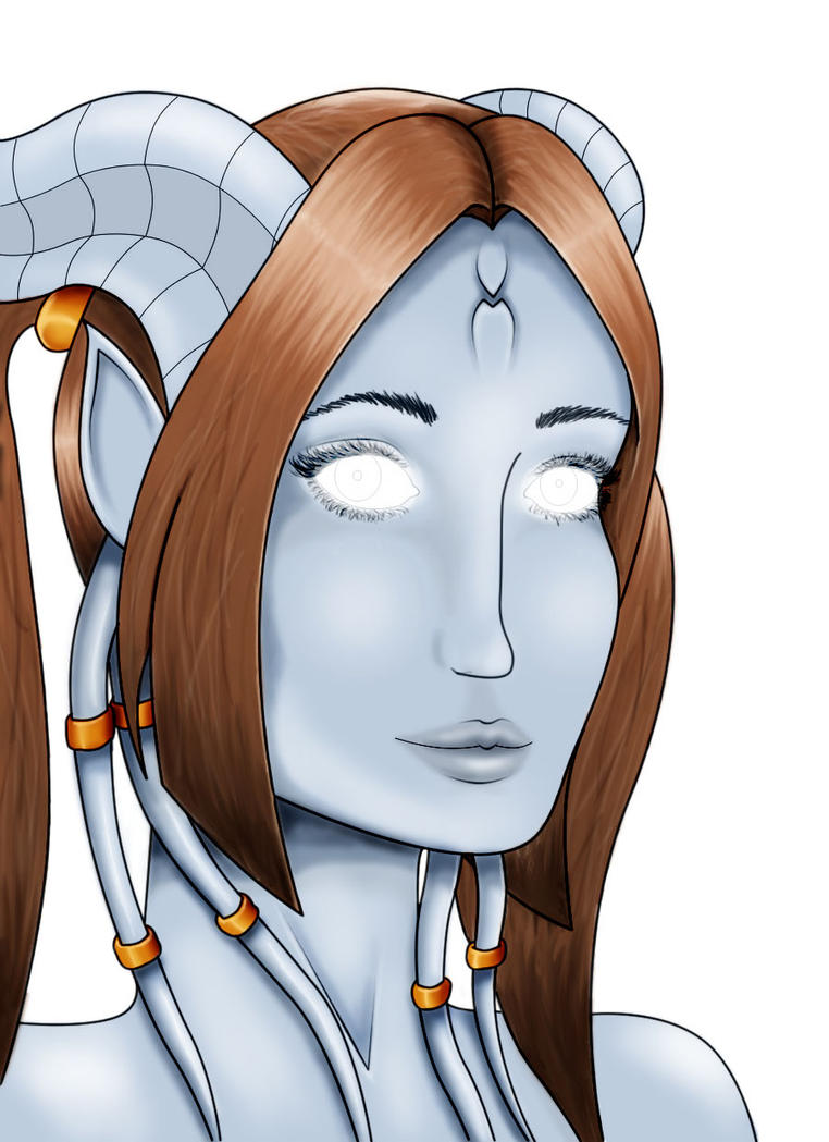 Draenei portrait colored by DisneysLostPrincess