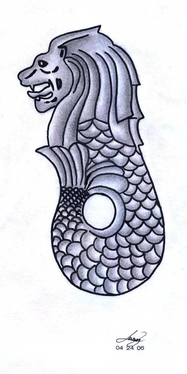 Image Gallery Merlion Drawing