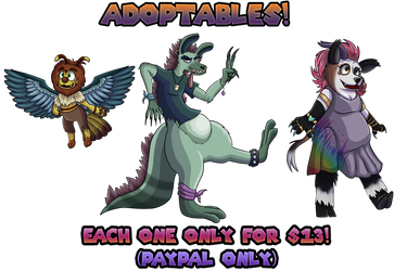 Adoptables#1:hybrid furry species