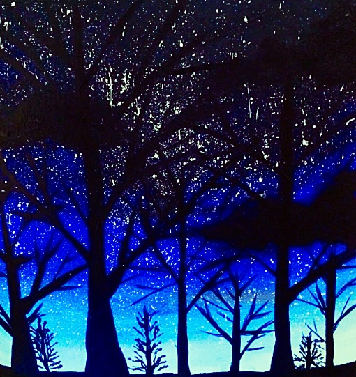 Night Sky with some Trees by emi1296